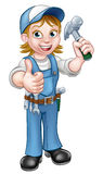 Cartoon Woman Carpenter Holding Hammer. A female carpenter handyman woman cartoon character holding a hammer and giving thumbs up stock illustration