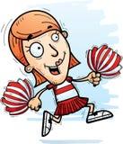 Cartoon Woman Cheerleader Running. A cartoon illustration of a woman cheerleader running stock illustration