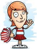 Cartoon Woman Cheerleader Waving. A cartoon illustration of a woman cheerleader waving vector illustration