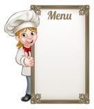 Cartoon Woman Chef Menu Royalty Free Stock Images
