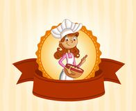 Cartoon woman chef. Restaurant banner with cartoon woman chef Royalty Free Stock Image