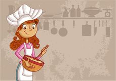 Cartoon woman chef. Wearing apron and cooking Stock Image