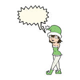 Cartoon woman in christmas elf costume with speech bubble Royalty Free Stock Image