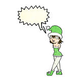 Cartoon woman in christmas elf costume with speech bubble Royalty Free Stock Images