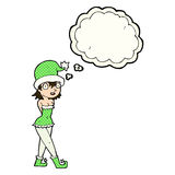 Cartoon woman in christmas elf costume with thought bubble Royalty Free Stock Photography
