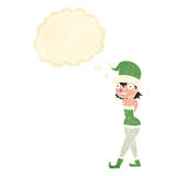 Cartoon woman in christmas elf costume with thought bubble Stock Photo