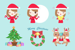 Cartoon woman with christmas Royalty Free Stock Photography
