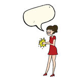 Cartoon woman clapping hands with speech bubble Stock Image