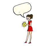 Cartoon woman clapping hands with speech bubble Royalty Free Stock Images