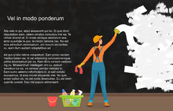 A cartoon woman cleaner wipes away a dark dirty wall. Painting a color wall. Website reconstruction. Stock Photos