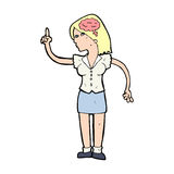 Cartoon woman with clever idea Royalty Free Stock Photo
