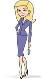 Cartoon woman clipart in retro style drawing Stock Photography