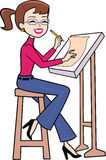 Cartoon woman clipart in retro style drawing Stock Image