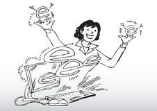Cartoon woman with computer Stock Photo