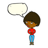 Cartoon woman considering with speech bubble Stock Photo