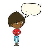 Cartoon woman considering with speech bubble Stock Photo