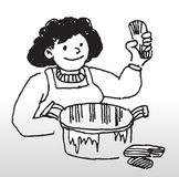 Cartoon woman cooking food. Illustration of happy cartoon woman cooking food in large saucepan vector illustration