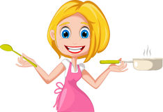 Cartoon woman cooking Royalty Free Stock Image