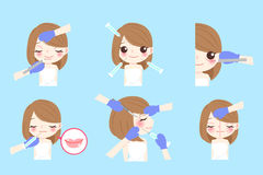 Cartoon woman with cosmetology. Beauty cartoon woman cosmetology her face with equipment Stock Photo