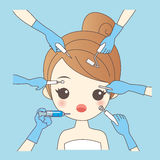 Cartoon woman and cosmetology Stock Photo