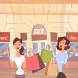 Cartoon Woman Couple With Shopping Bag Big Sale Banner Retial Store Exterior Stock Photos