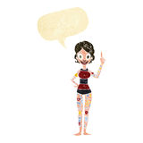 Cartoon woman covered in tattoos with speech bubble Royalty Free Stock Image