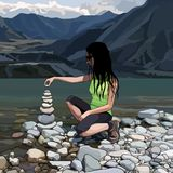 Cartoon woman creates a pyramid of stones on the river bank. Cartoon woman creates pyramid of stones on the river bank stock illustration