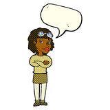 Cartoon woman with crossed arms and safety goggles with speech b Royalty Free Stock Photography