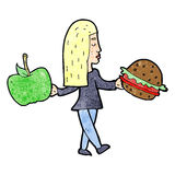 Cartoon woman deciding to eat healthy Royalty Free Stock Images