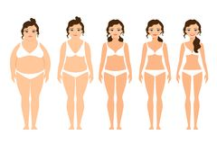 Cartoon woman before and after diet Stock Image