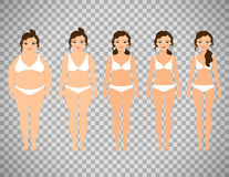 Cartoon woman before and after diet Stock Images