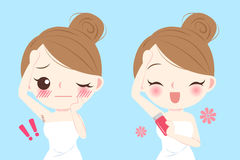 Cartoon woman do epilator. Beauty cartoon woman do epilator before and after Royalty Free Stock Photos