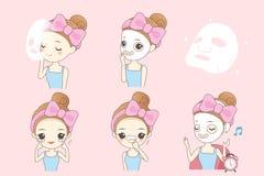 Cartoon woman do facial care Stock Photo