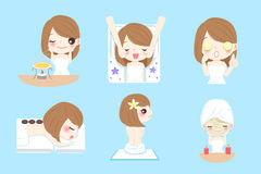 Cartoon woman do spa. Cute cartoon woman do spa on the blue background Stock Images