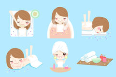 Cartoon woman do spa. Cute cartoon woman do spa on the blue background Stock Photography