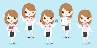 Cartoon woman doctor. On the blue background Stock Photos