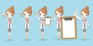 Cartoon woman doctor. Cute cartoon woman doctor on blue background Stock Images