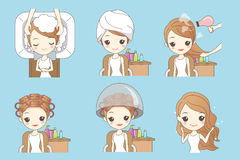 Cartoon woman doing hair salon. Great for your design royalty free illustration