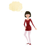 cartoon woman in dress with thought bubble Royalty Free Stock Image