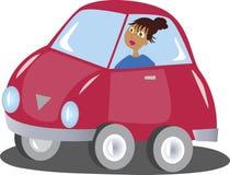 A cartoon woman driving a  car Stock Photo