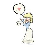 Cartoon woman dropping handkerchief Royalty Free Stock Photo