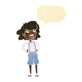 Cartoon woman in dungarees with speech bubble Royalty Free Stock Photo