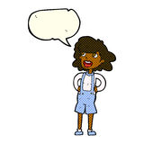 Cartoon woman in dungarees with speech bubble Royalty Free Stock Image