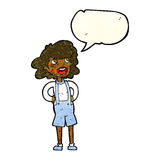 Cartoon woman in dungarees with speech bubble Royalty Free Stock Images