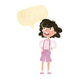 Cartoon woman in dungarees with speech bubble Royalty Free Stock Photos