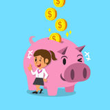 Cartoon woman earning money with pink piggy Stock Images