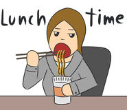 Cartoon woman eat lunch Royalty Free Stock Photo