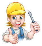 Cartoon Woman Electrician Holding Screwdriver Royalty Free Stock Images