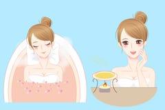 Cartoon woman enjoy do spa. And feel happily Royalty Free Stock Image