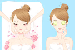 Cartoon woman enjoy do spa Royalty Free Stock Images